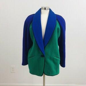 Vintage Color Block Wool nylon Coat Neiman Marcus